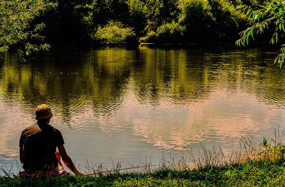 Man, Lake, Fishing, Nature, Leisure, Summer, Lifestyle
