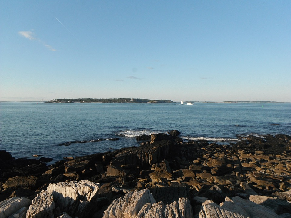 Peaks Island, Summer, Ocean, Maine, Rocks, Blue Sky
