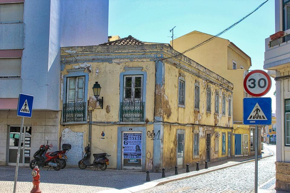 Olhao, Portugal, Back Street, Algarve, Summer