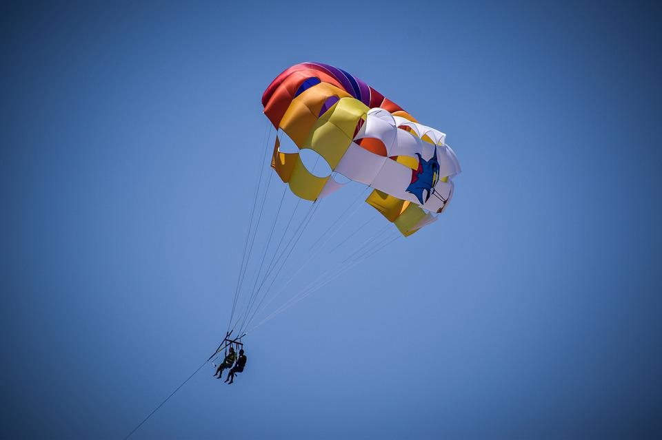 Parachute, Colored, Colorful, Sky, Blue, Summer