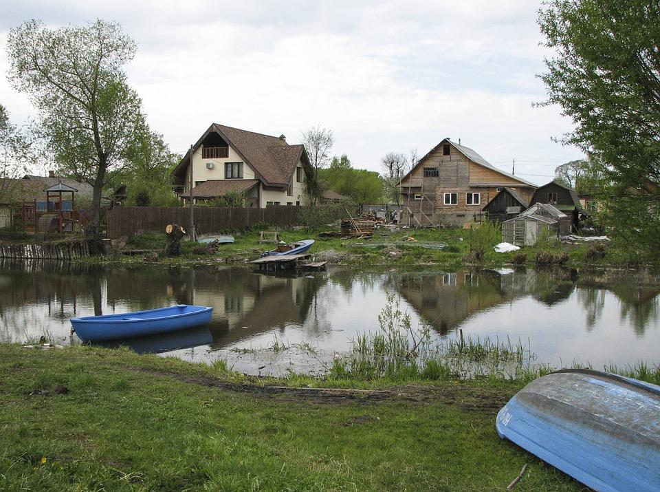 Russia, Village, Backwoods, Summer, Landscape, River
