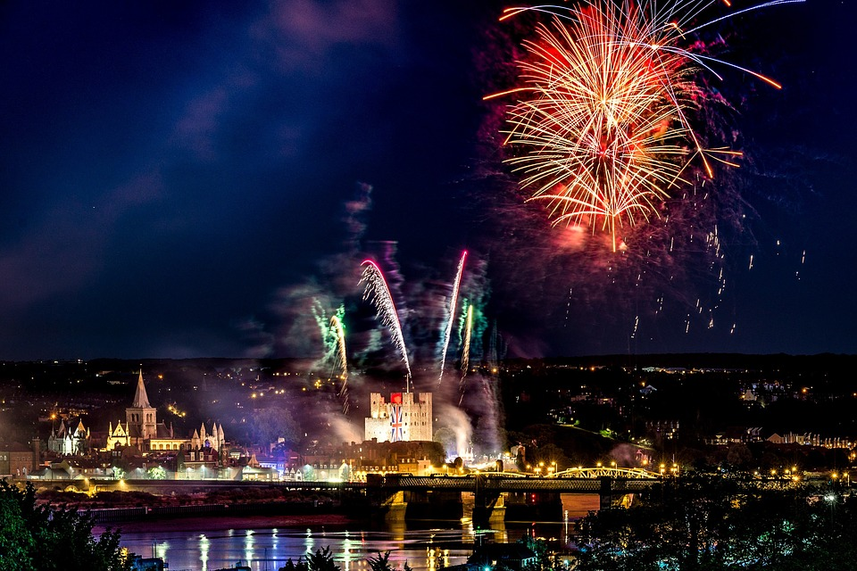 Fireworks, Rochester, England, Celebration, Summer