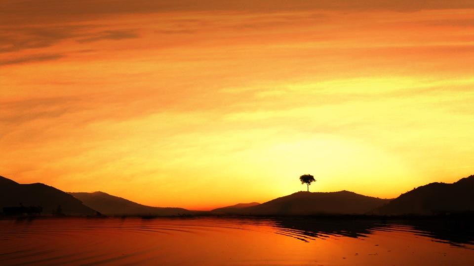 Sunset, Water, Mountain, Scenic, Summer, Nature, Ocean