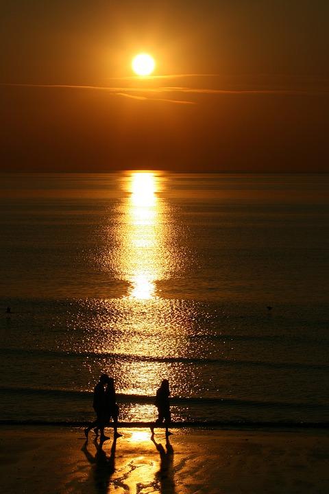 Sunset, Walkers, Beach, Nature, Walk, Sky, Summer, Sun
