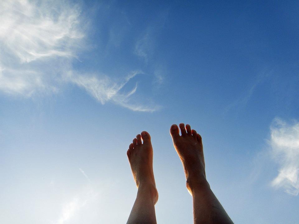 Feet, Sky, Clouds, Blue, Summer
