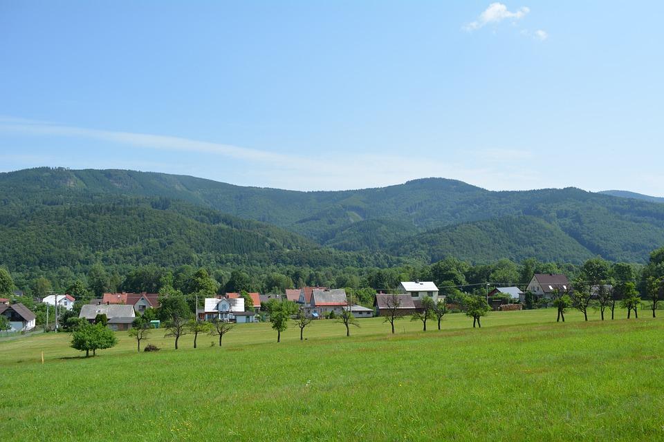 Village, Panorama, Grass, Summer, Nature, Sky