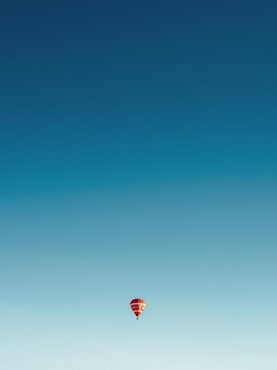 Sky, Balloon, Flying, Minimal, Travel, Tourism, Summer