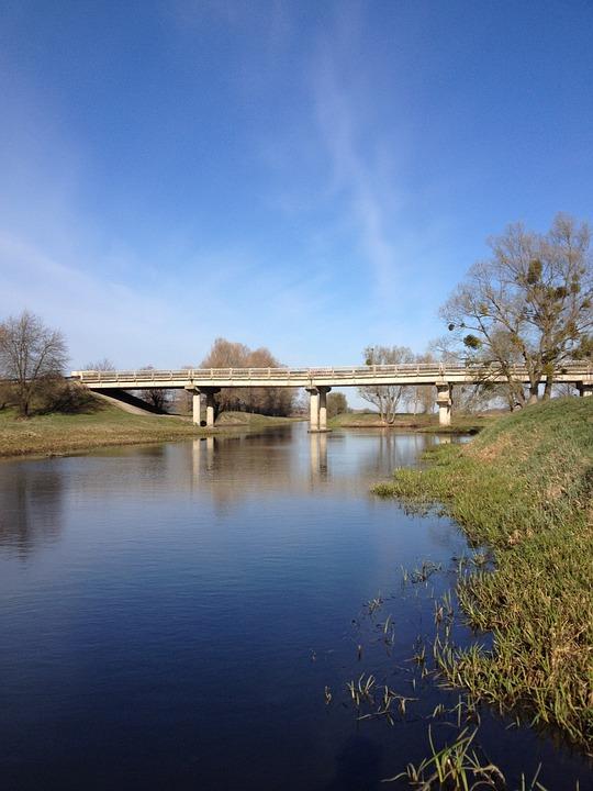 Small River, Bridge, Nature, Spring, Summer, Park