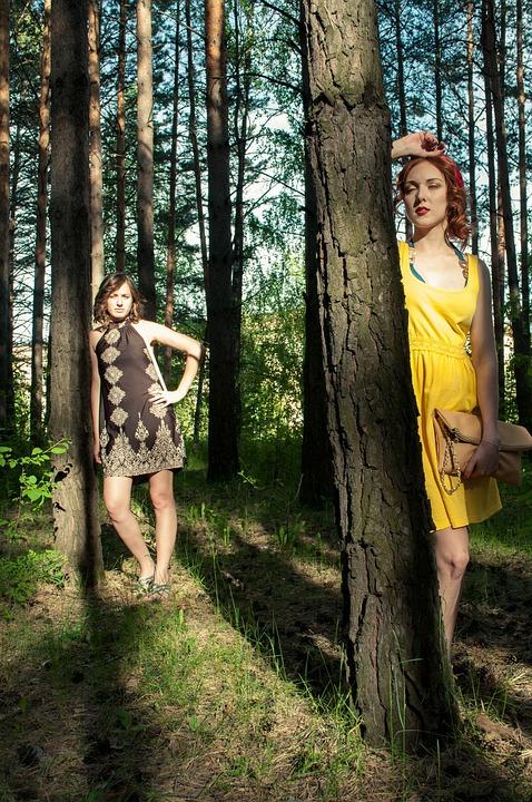 Girls, Summer, Sun, Friends, Stroll, Forest, Trees