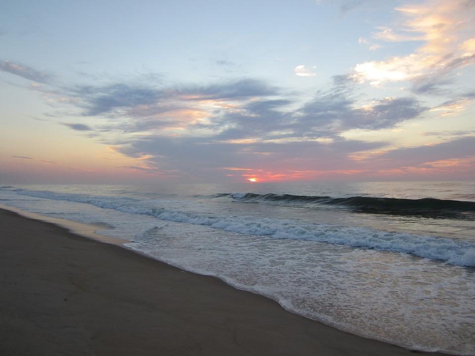 Ocean, Sea, Sand, Waves, Summer, Sun, Sunrise