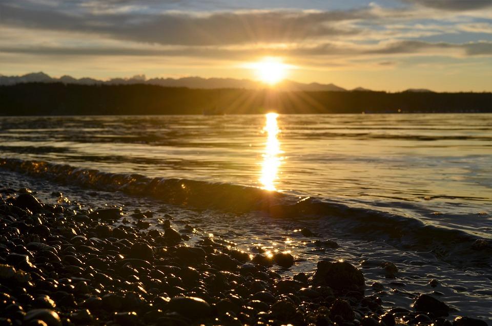 Waterfront, Sunset, Summer, Beach, Mountains, Gold
