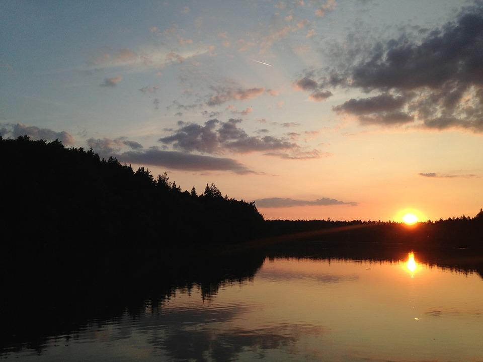 Sunset, Pond, Summer Sunset