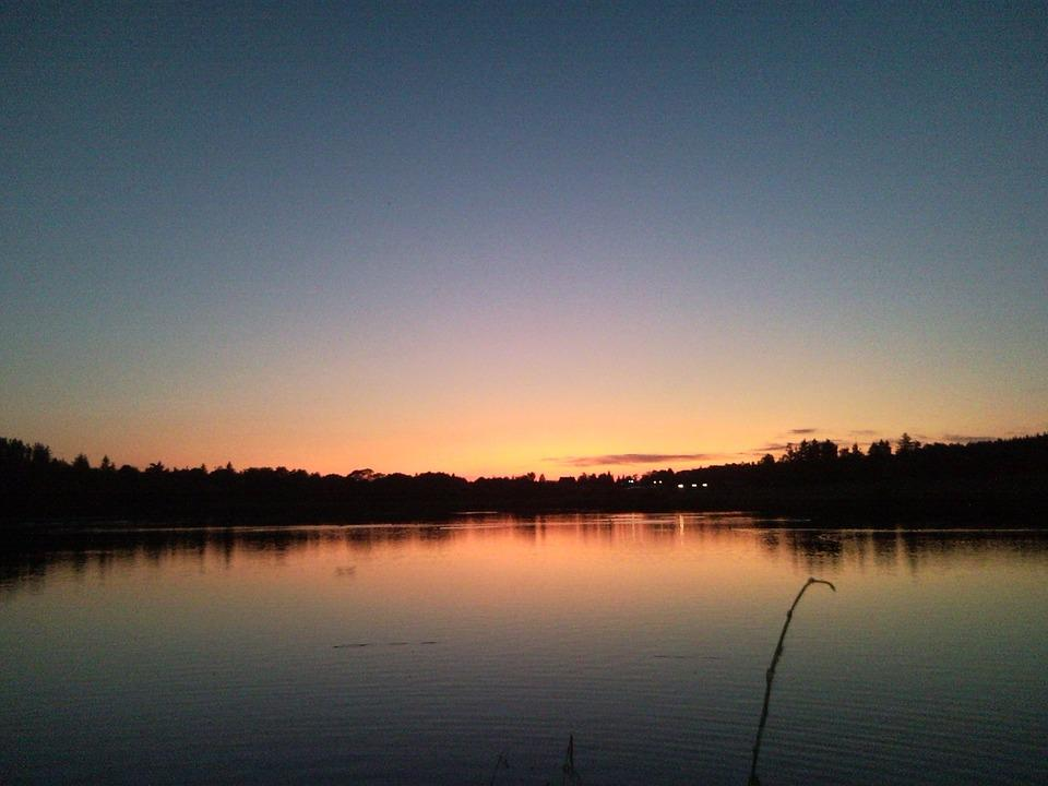 Sunset, Pond, Summer Sunset