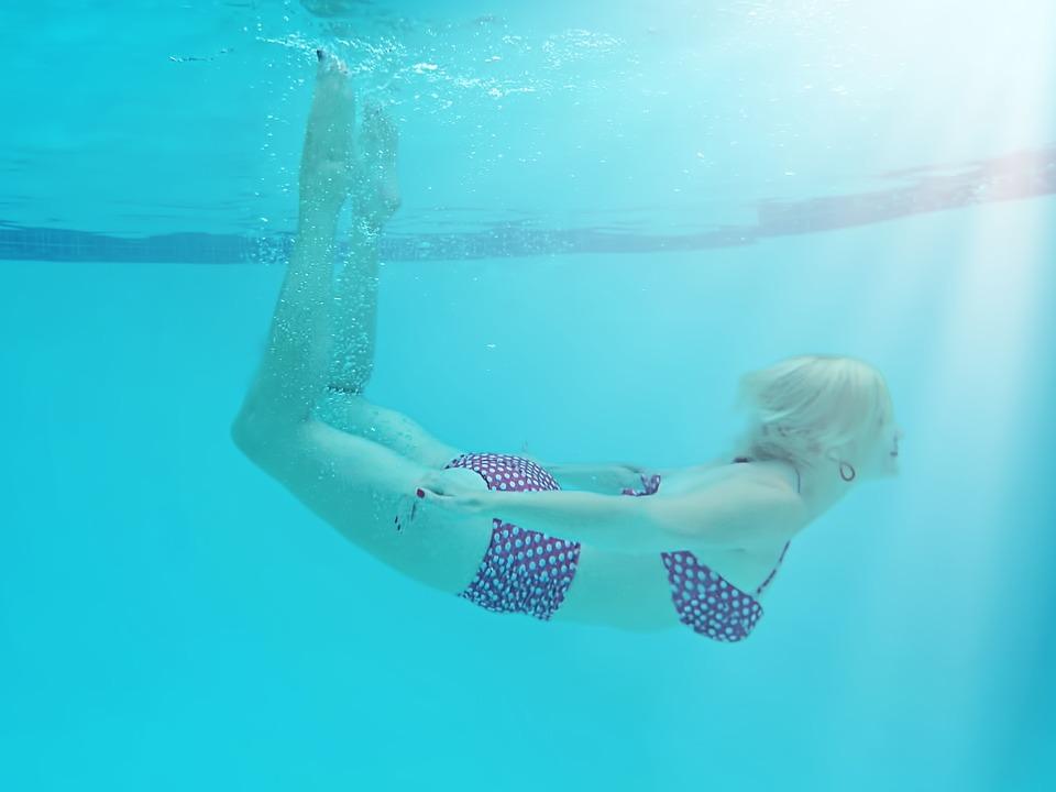 Woman Underwater, Pool, Summer, Swimmer, Underwater