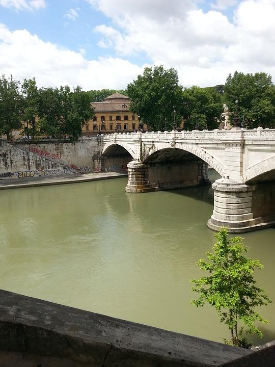 Italy, Rome, Tiber, Bridge, Historical, Water, Summer