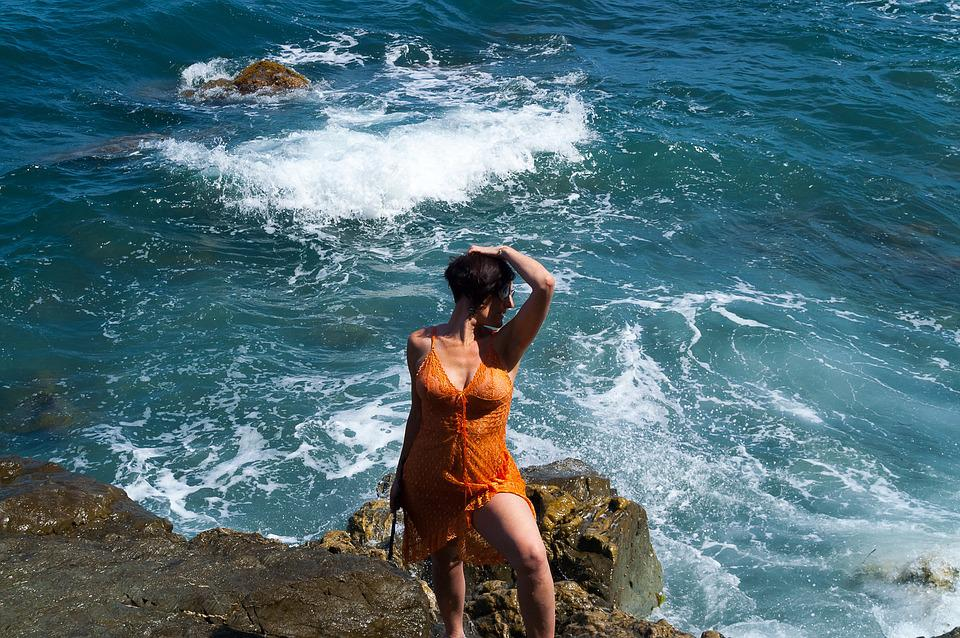 Rock, Woman, Water, Sea, Travel, Girl, Summer, Holiday