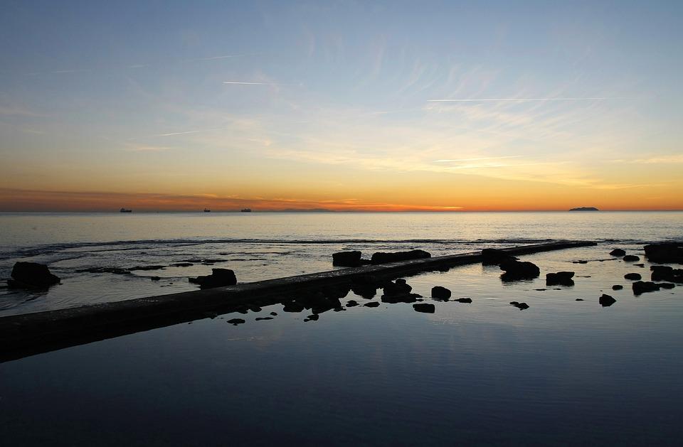 Sunset, Sea, Evening, Twilight, Abendstimmung, Sun