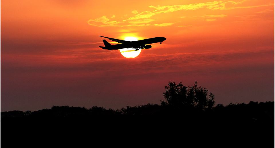 Sunset, Aircraft, Nature, Sky, Transport, Travel, Sun