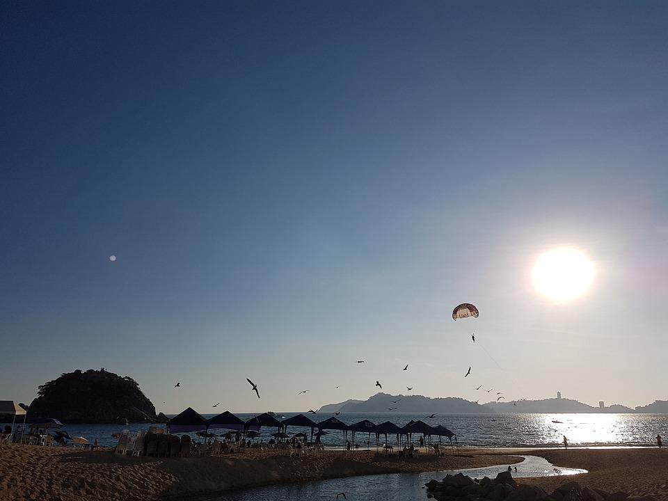 Sun, Parachute, Morro, Acapulco, Sea, Beach