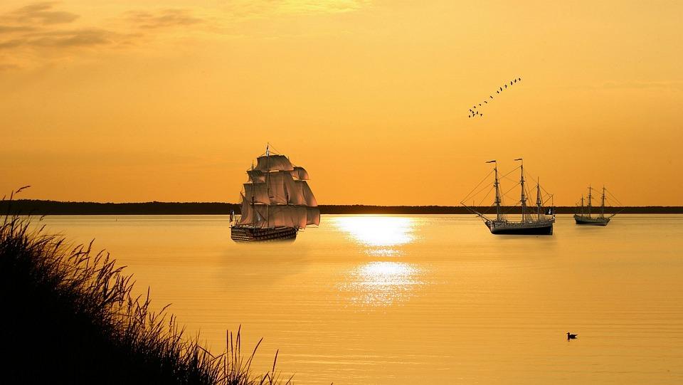 Sunset, Waters, Sun, Sea, Reflection, Dusk, Boot, Sky