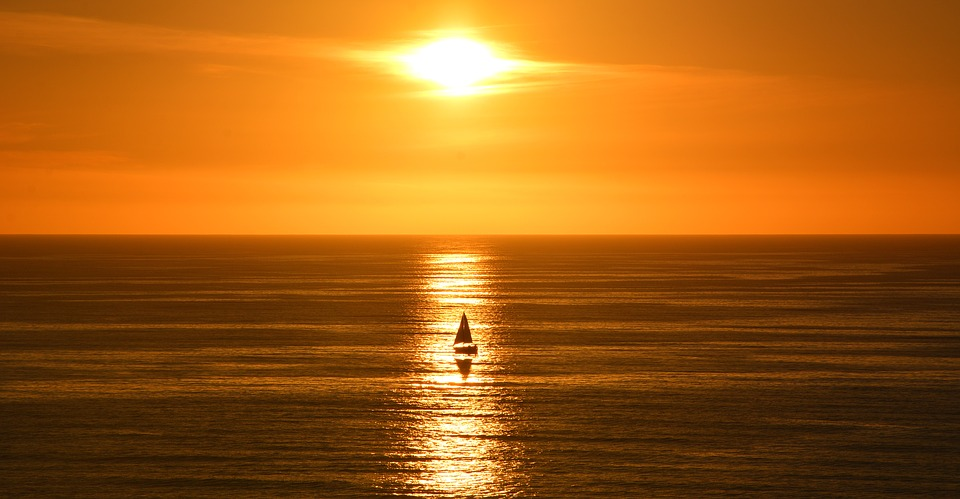 Sunset, California, Coast, Sail Boat, Sun, Horizon