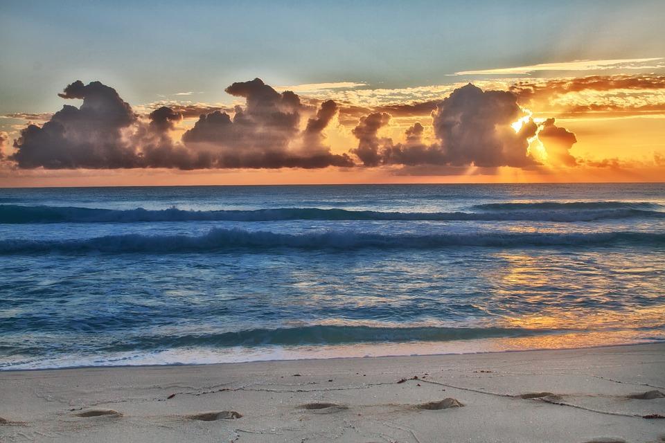 Ocean, Sea, Beach, Sand, Sunset, Blue, Caribbean, Sun