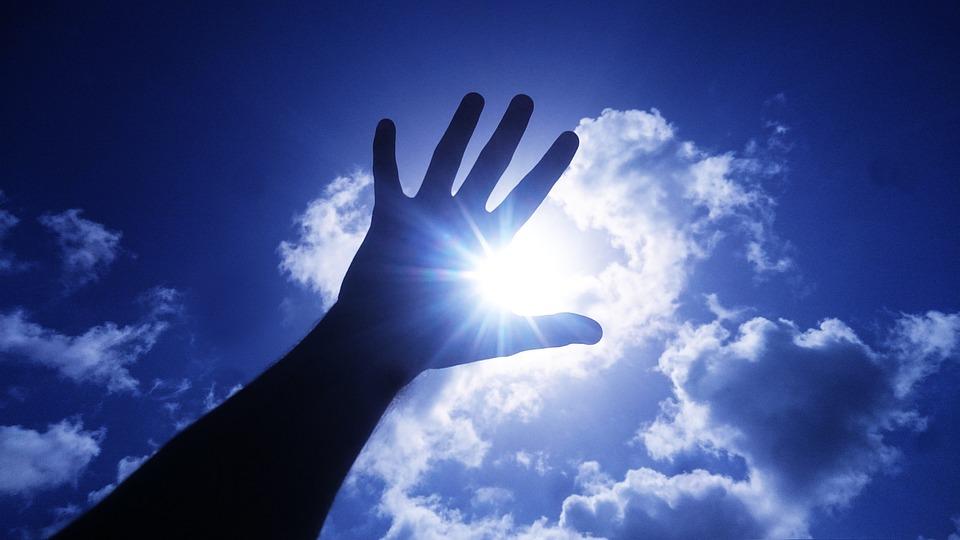 Sun, Sky, Hand, Clouds, Blue