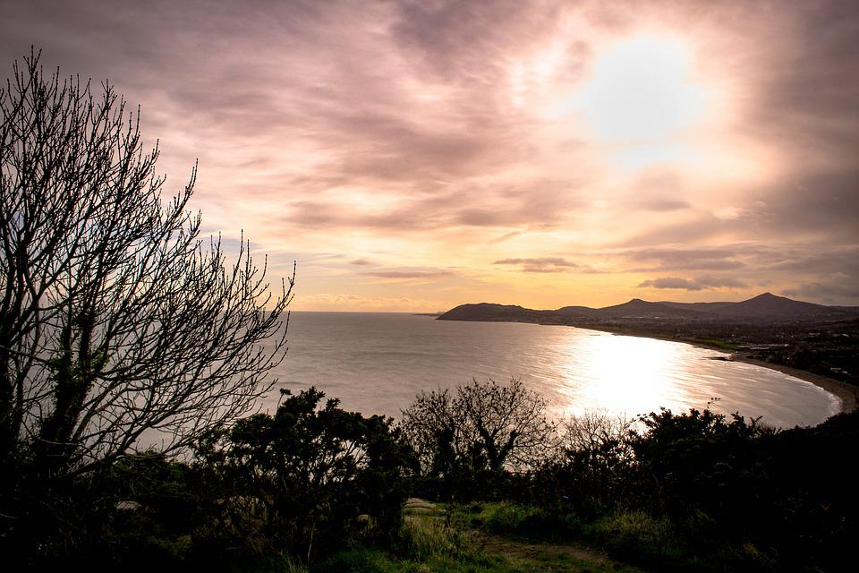 View, Tree, Sunset, Ireland, Beach, Sun, Clouds, Bay