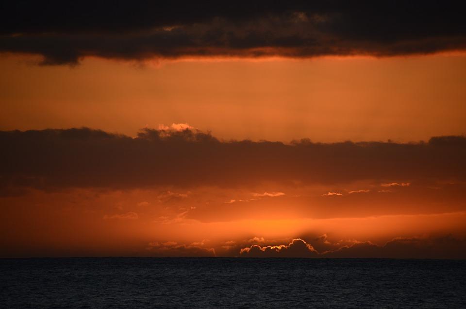 Sunset, Sea, Dusk, Sun, Nature, Evening, Sky, Clouds