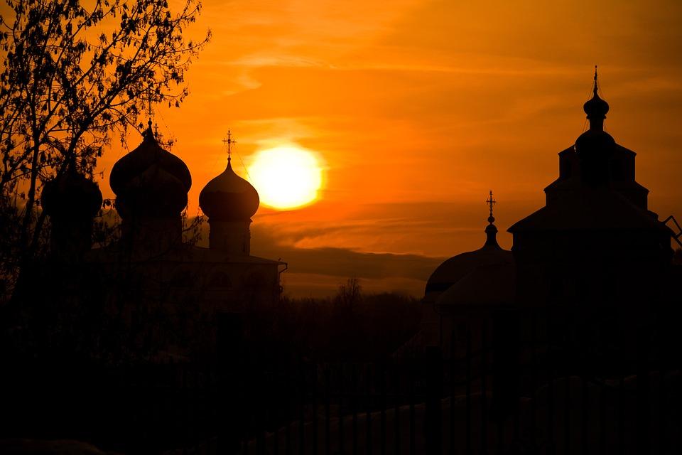 Sun, Sky, Dawn, Silhouettes, Landscape, Temple, Dome