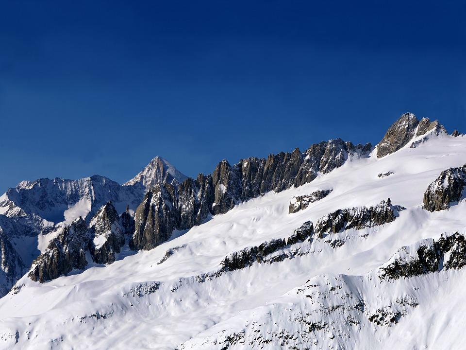 Eggishorn, Alps, Mountain, Summits, Snow, High, Sun