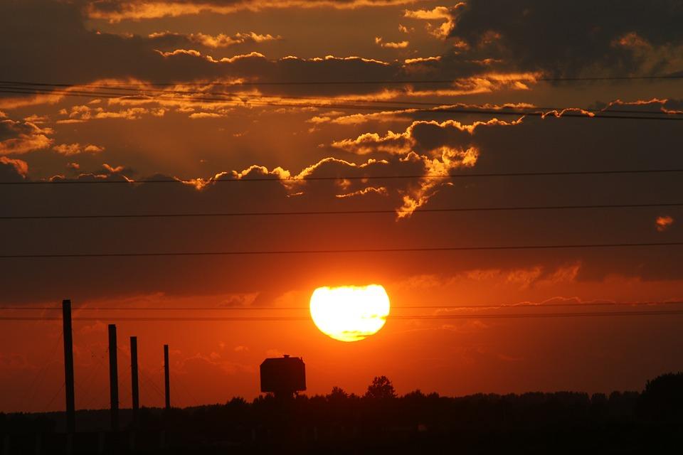 Sunset, Dawn, Sun, Dusk, Evening, Factory, Building