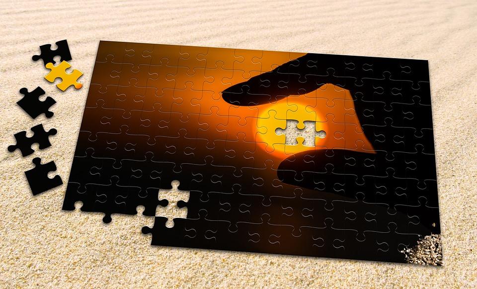 Puzzle, Sun, Sand, Hand, Evening Sun, Sunset