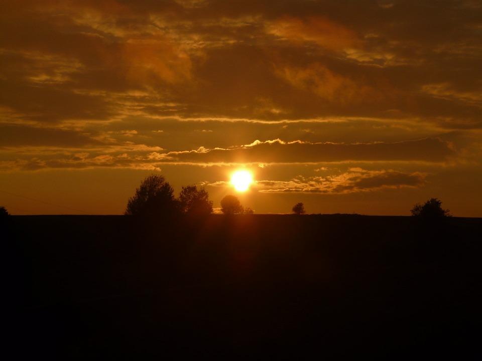 Sunset, Sun, Clouds, Sky, Dark, Evening, Twilight