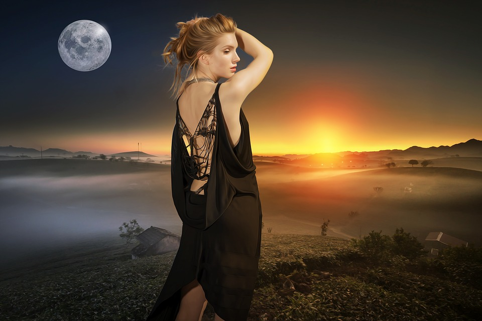 Sun Moon, Sun, Moon, Fantasy, Woman, Girl, Young