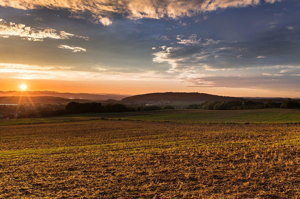 Sunset, Mood, Sun, Afterglow, Fields, Landscape