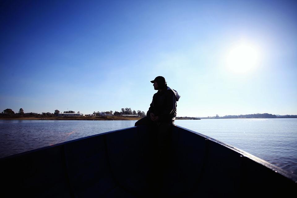 Boat, Fishing, Work, Fisherman, Lake, Sky, Dawn, Sun