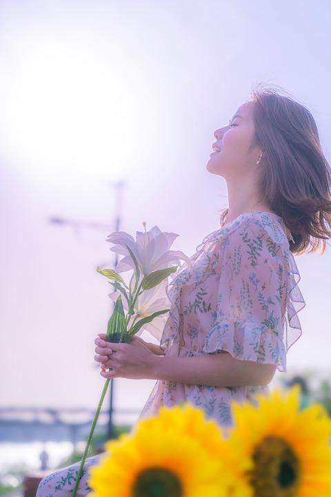 Girl, Flower, Sun, Flowers, Women's, Portraits