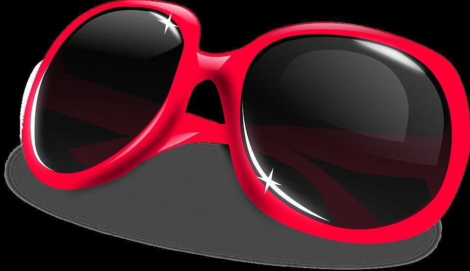 Sun Glasses, Glasses, Dark, Red, Sunglasses, Glass