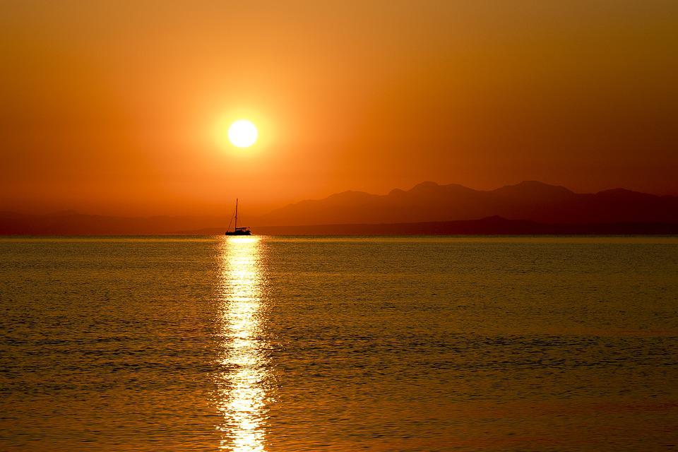 Greece, Sea, Sun, Sunset