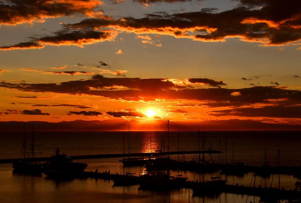 Boats, Sea, Sunset, Port, Harbor, Ocean, Sun, Sunlight