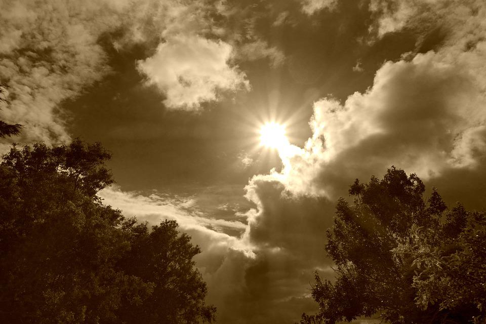 Clouds, Cumulus, Sky, Sun, Sunrays, Heaven, Biblical