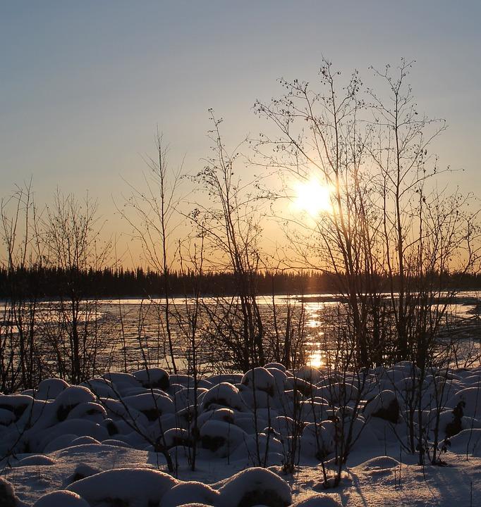 Winter, Fairbanks, Tanana River, Sun, Ice, Alaska, Snow