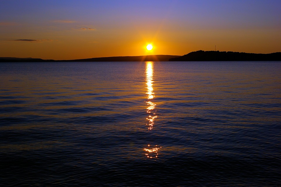 Sunset Over Lake Dardanelle, Sunset, Dusk, Sun, Lake