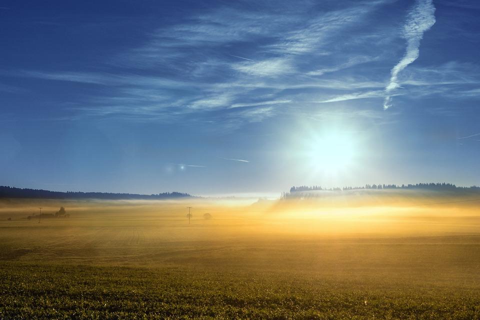 Autumn, Sunrise, Fog, Landscape, Sky, Sun, Mood