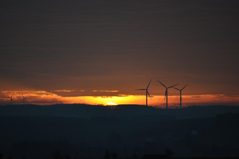 Landscape, Wind Turbine, Sun