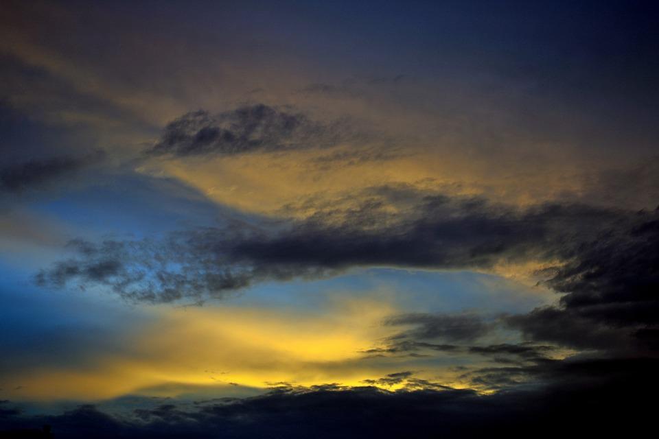 Sunset, Clouds, Sun, Landscape, Blue, Light, Outdoor