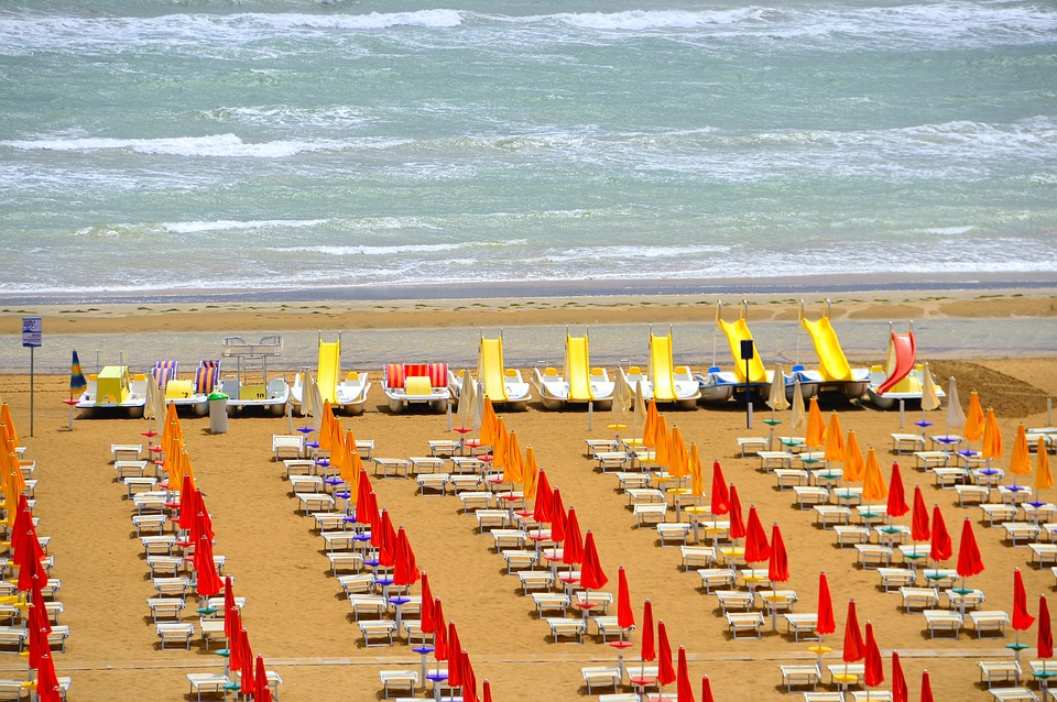 Beach, Parasol, Sun Loungers, Sand, Holiday, Water
