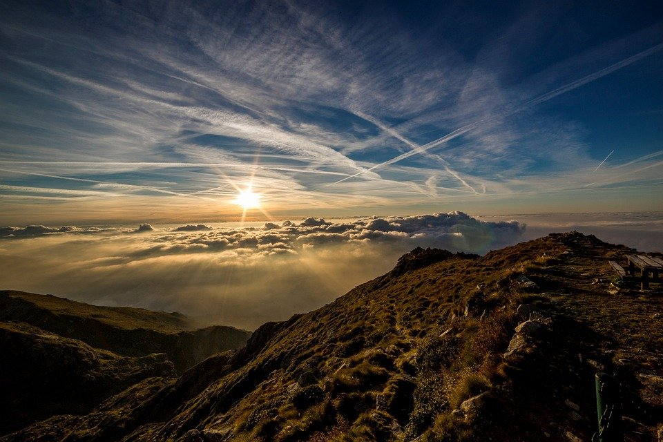 Dawn, Sun, Mountain, Landscape