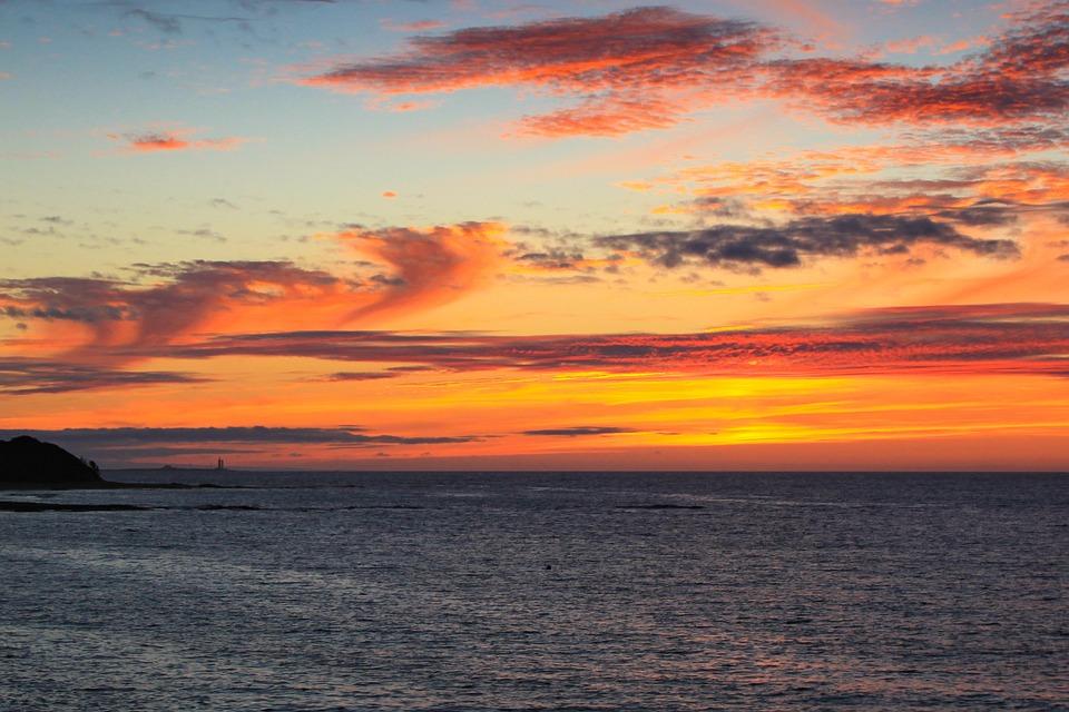 Sunset, Noirmoutier, Beach, Sun, Ocean